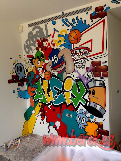 graffiti basket habitación juvenil