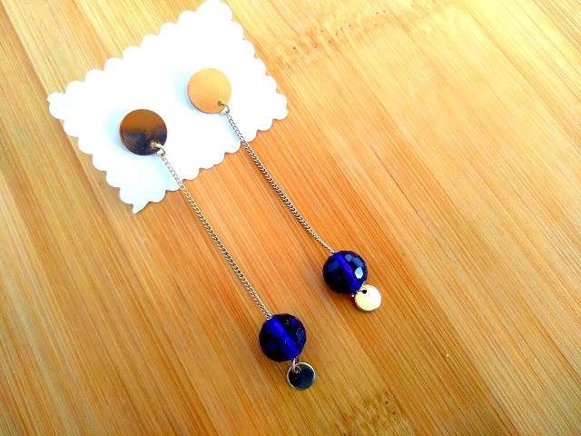 pendientes azules de cristal