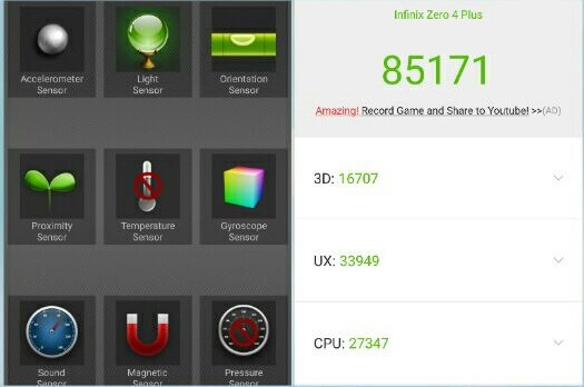 Infinix Zero 4 Plus' Benchmark