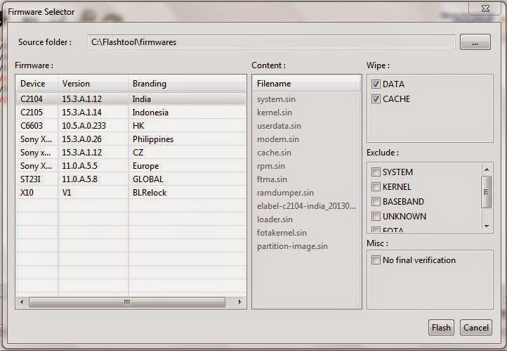 Cara Flashing Firmware Sony Xperia Dengan Flashtool 4