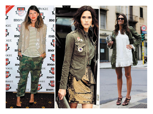Одежда в стиле милитари с нарядными платьями