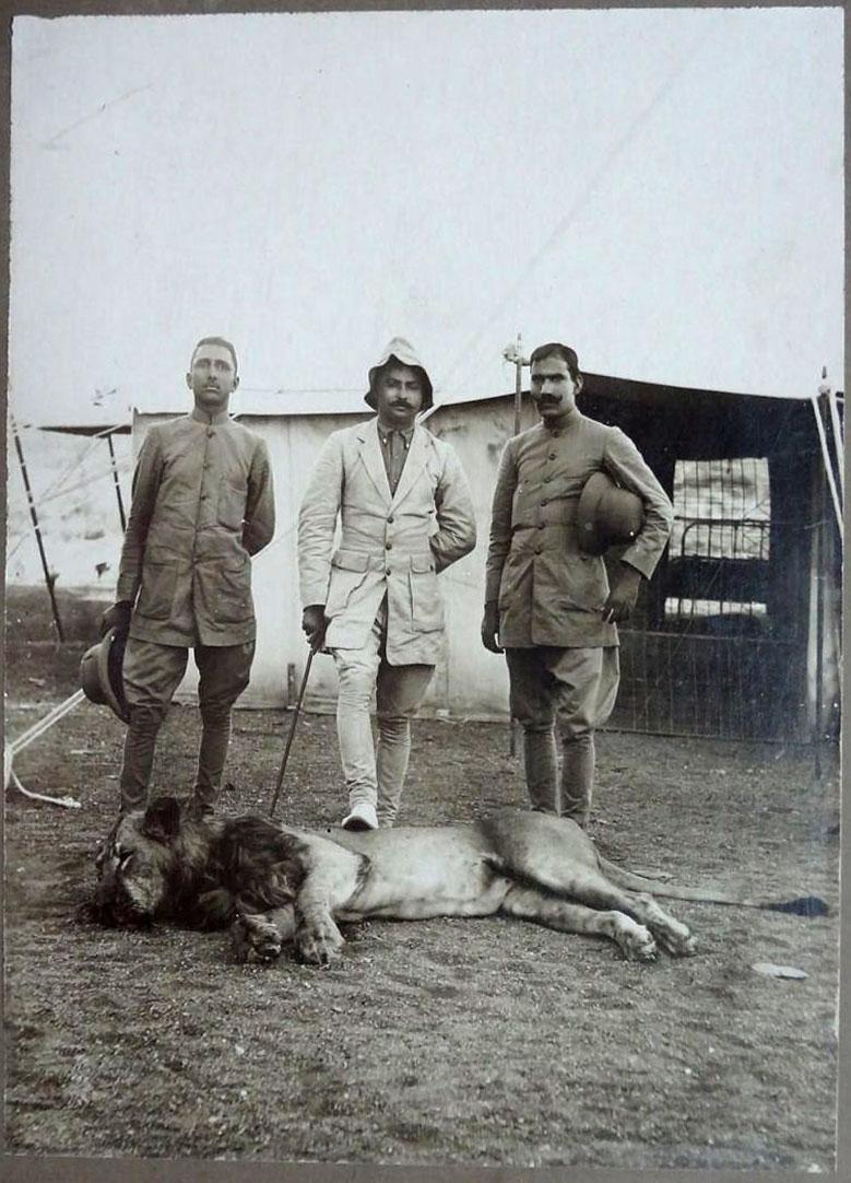Maharaja of Jamnagar with a Dead Lion
