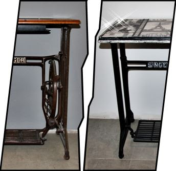 Metamorfoza maszyny do szycia Singer - stolik vintage black & white