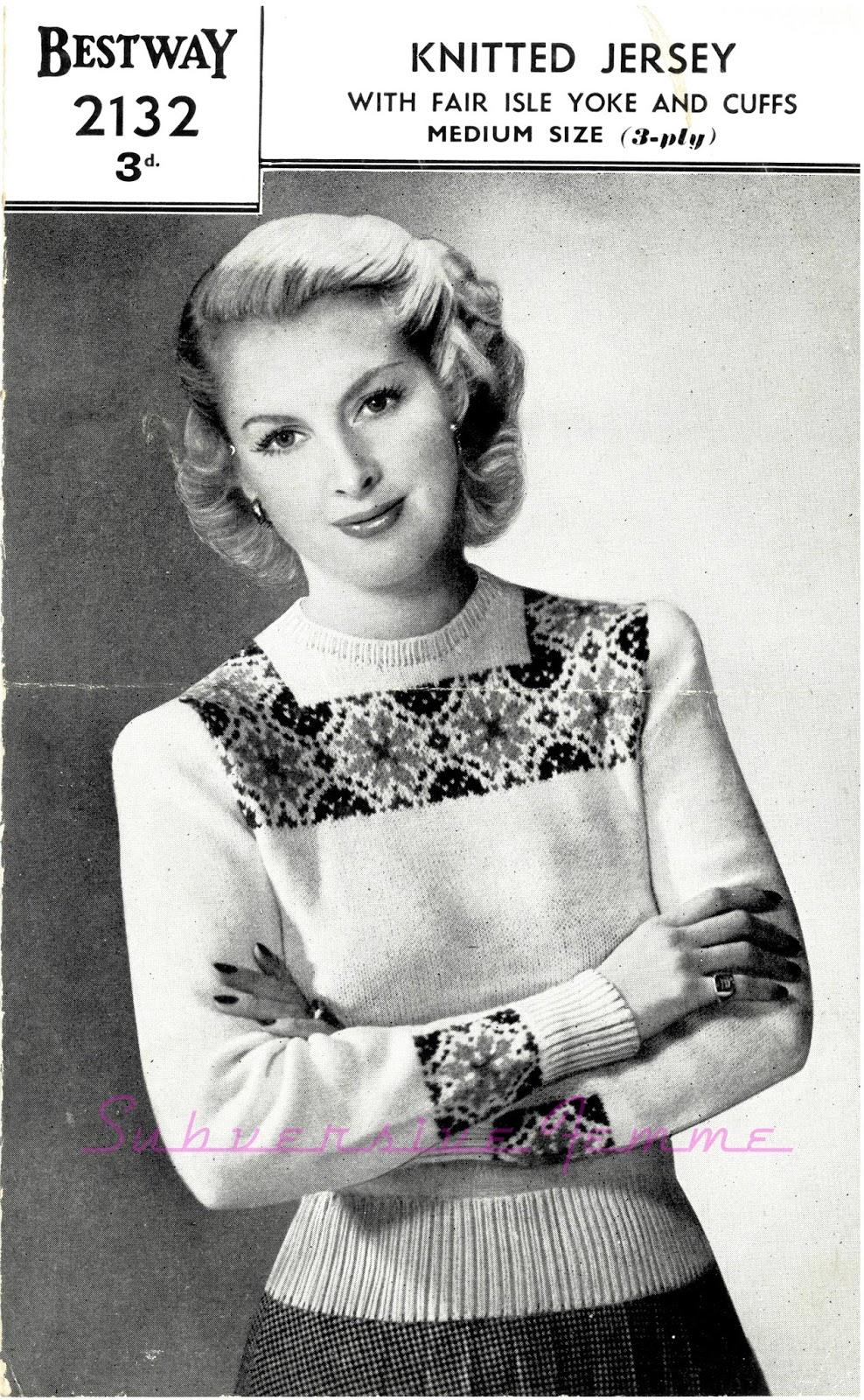 Free Vintage Knitting Patterns 1940s : The Vintage Pattern Files: 1940s Knitting - Bestway 2132 A Fair Isle Jumper