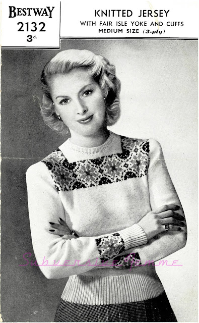 The Vintage Pattern Files: Free 1940s Knitting Pattern Bestway Womens Fair Isle Jumper
