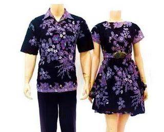 Baju batik pasangan remaja pria dan wanita modis