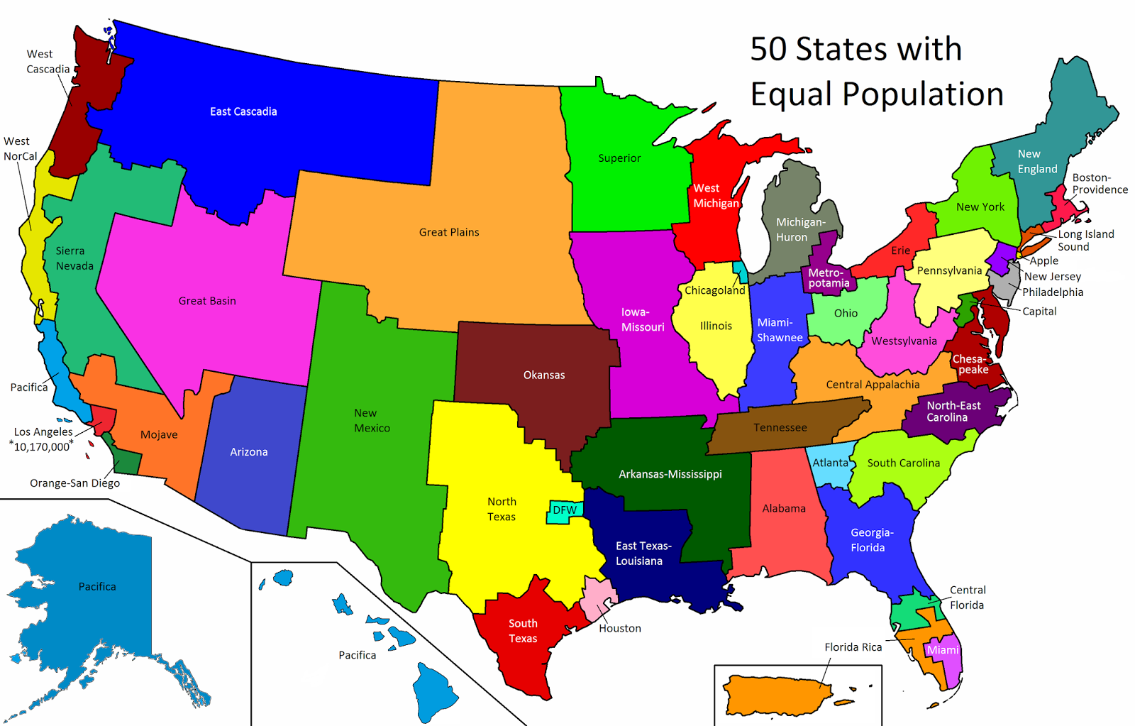 United States: 50 States with Equal Population