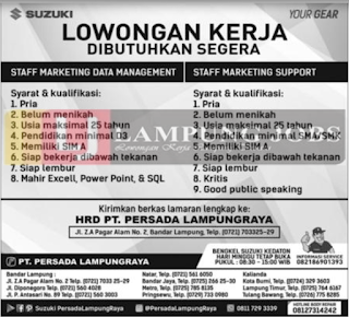 Dibutuhkan Segera Tenaga Kerja di PT. Persada Lampung Raya Bandar Lampung Juni 2018