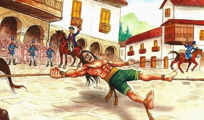 Dibujo de Túpac Amaru II cuando era torturado a color