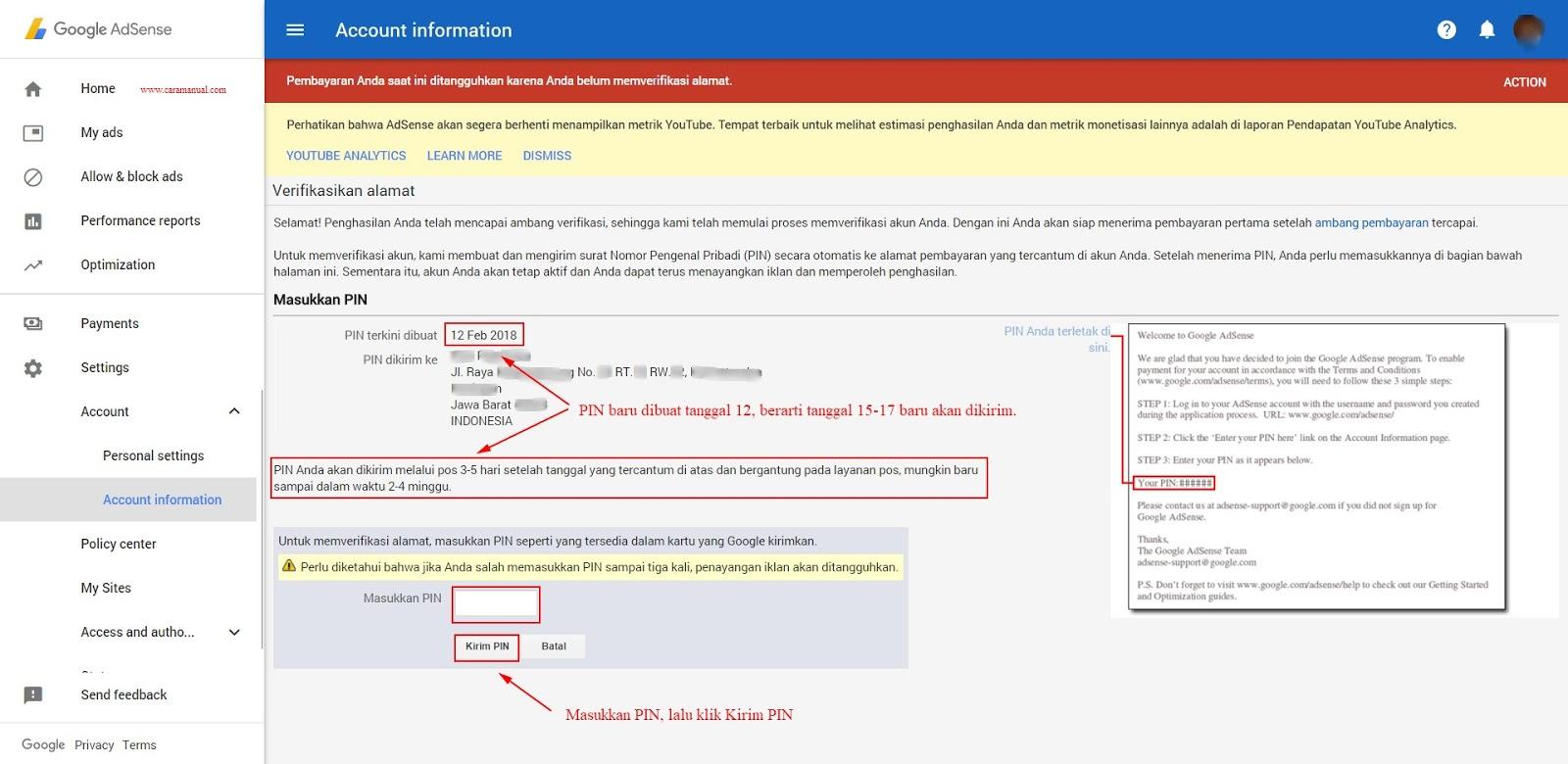Cara Verifikasi Alamat (PIN) Google AdSense 2