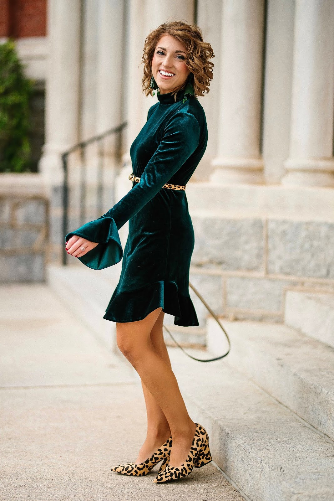 Green Velvet Ruffle Sleeve Dress, Leopard Belt and ZAC Zac Posen Glitter Bag - Something Delightful Blog