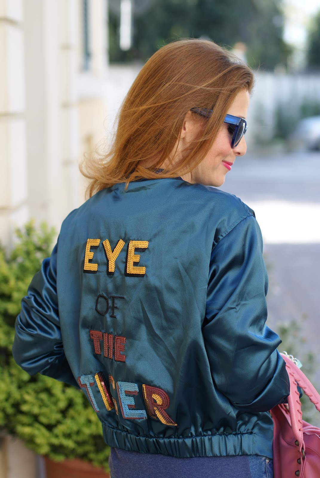 Choies Eye of the tiger satin bomber on Fashion and Cookies fashion blog, fashion blogger style