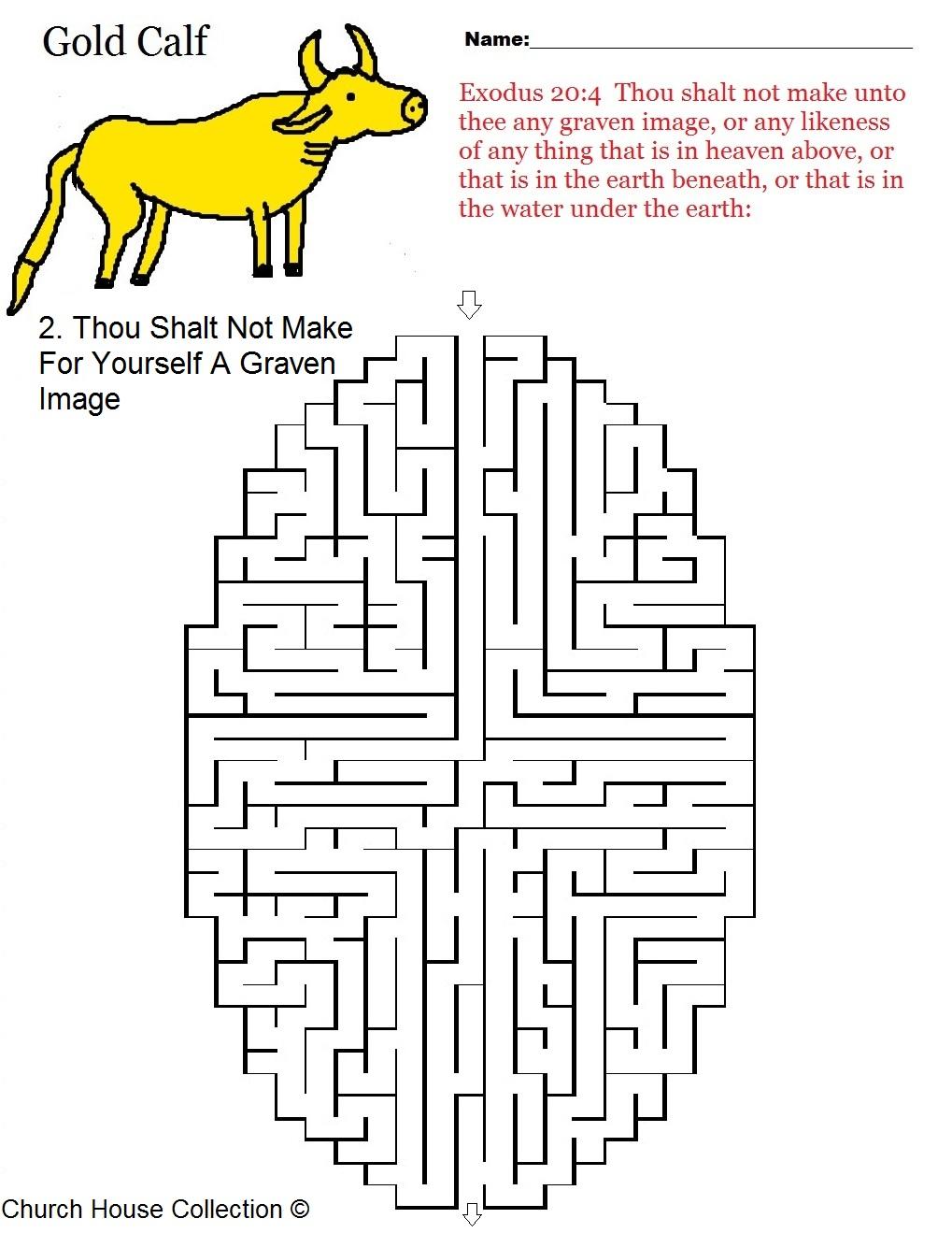 Free coloring page golden calf - Ten Commandments Maze Thou Shalt Not Make For Yourself A Graven Image Gold Calf Exodus 20 4