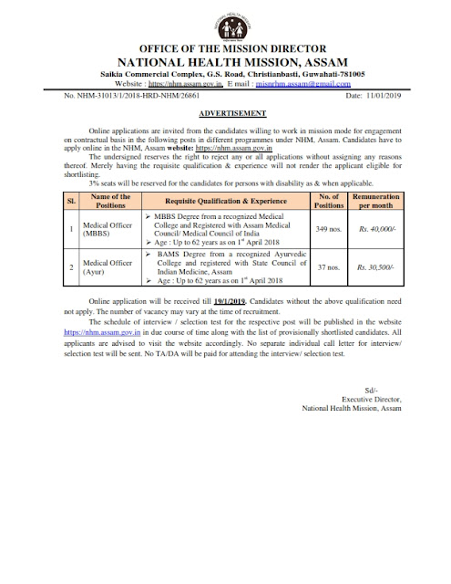 Medical Officer Recruitment in National Health Mission Assam(386 Posts)