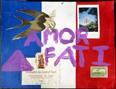 polaroid wine label postage stamp flag collage