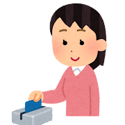 カードリーダーにカードをスワイプする人のイラスト(女性)