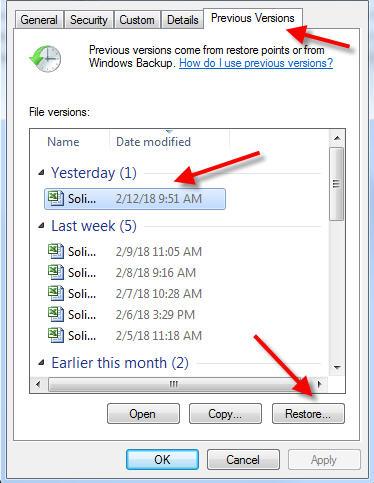 cara mengembalikan file yang terhapus dengan restore previous versions