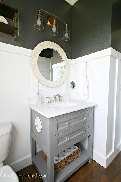 Gray vanity light counter bathroom