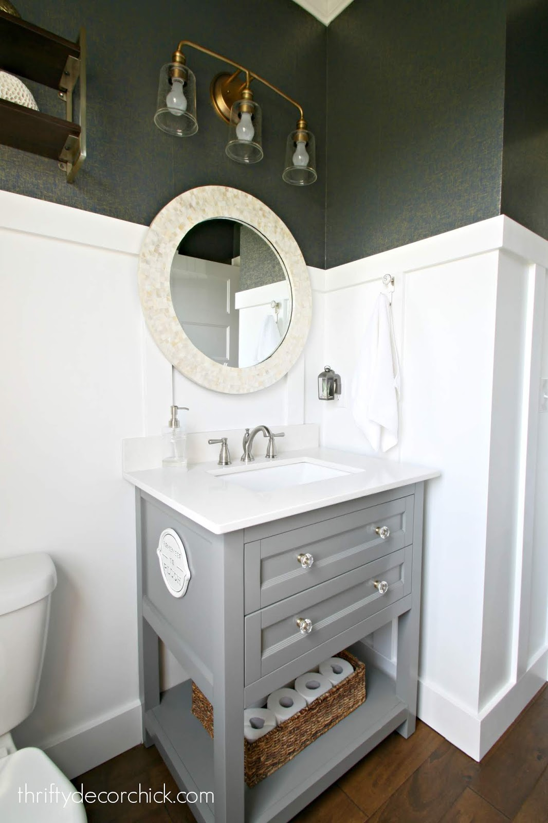 Gray vanity light counter bathroom