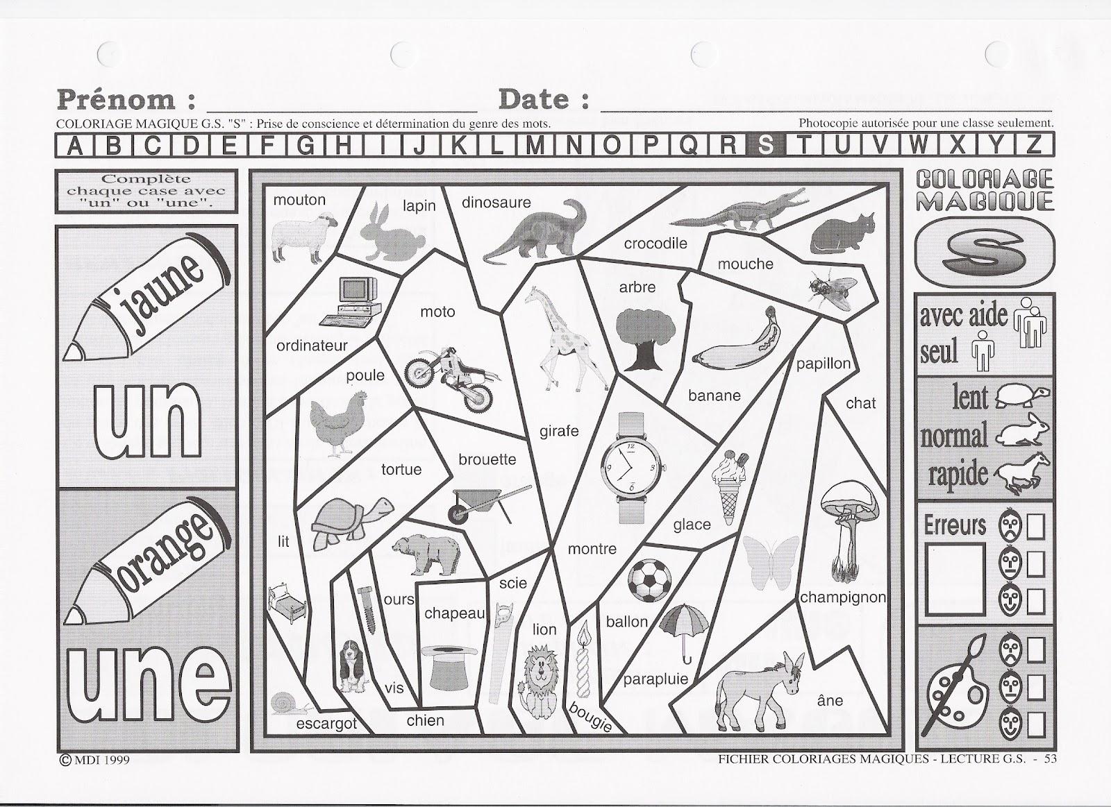 Activités scolaires et périscolaires de la GS: coloriages magiques
