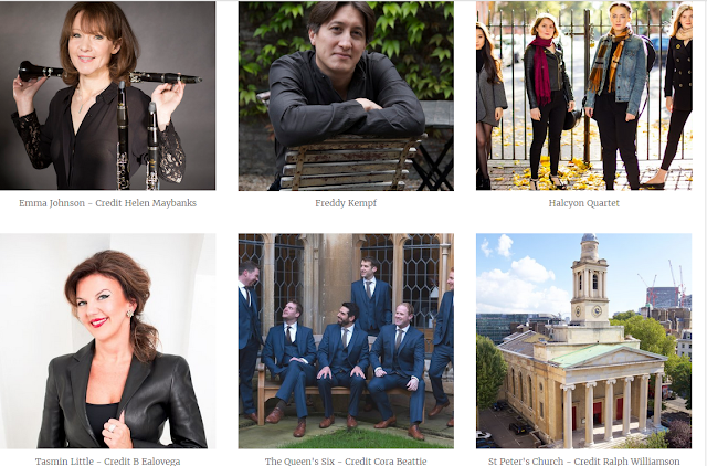 Emma Johnson, Freddy Kempf, Halcyon Quartet, Tasmin Little, the Queen's Six at Eaton Square Concerts