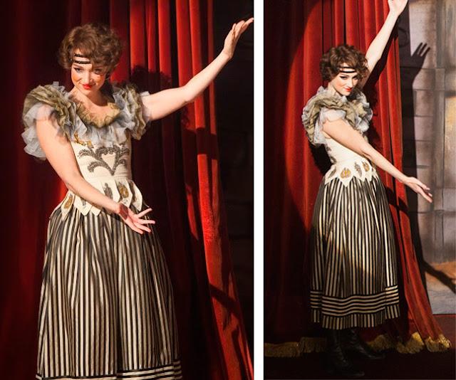 Houdini, minissérie figurino, vestido da Bess (Kristen Connolly), vestido listrado show