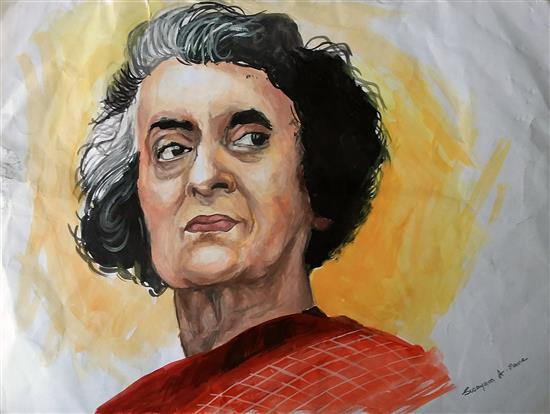 Indira Gandhi, painting by Swayam Mane (www.indiaart.com)
