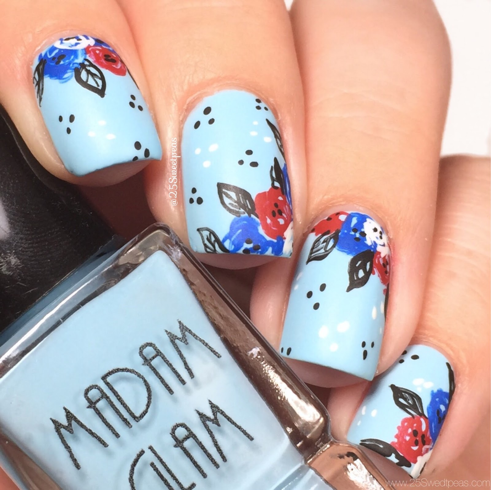 Fourth of July Floral Nails