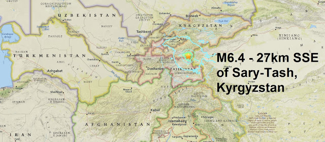 A magnitude 6.4 - 27km SSE of Sary-Tash, Kyrgyzstan is the 13th major quake of June  Untitled