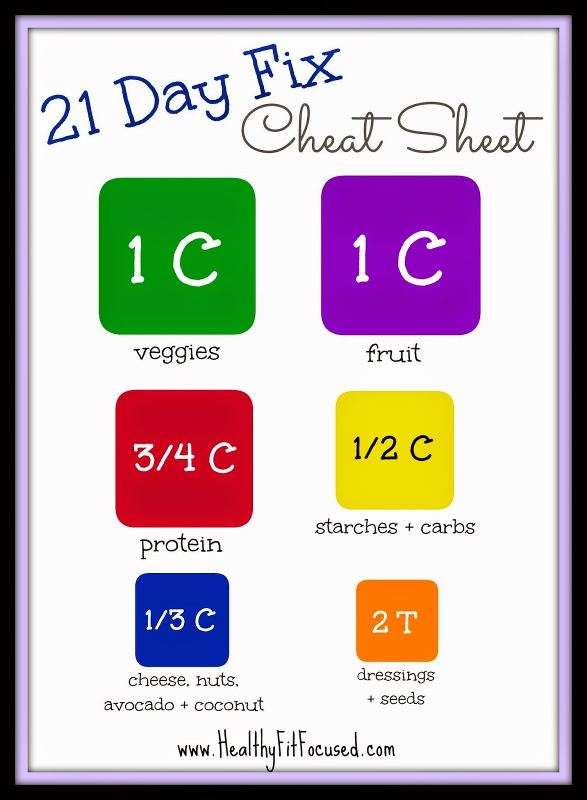 picture about 21 Day Fix Workout Schedule Printable referred to as Nutritious, In shape, and Concentrated: 21 Working day Repair Cheat Sheets