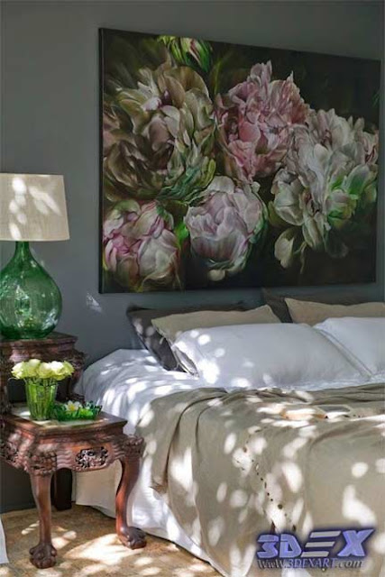 oil painting on canvas, flowers oil paintings, bedroom wall art