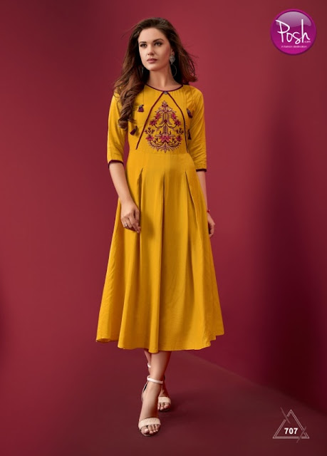 Posh Blossom Embroidered Anarkali kurtis