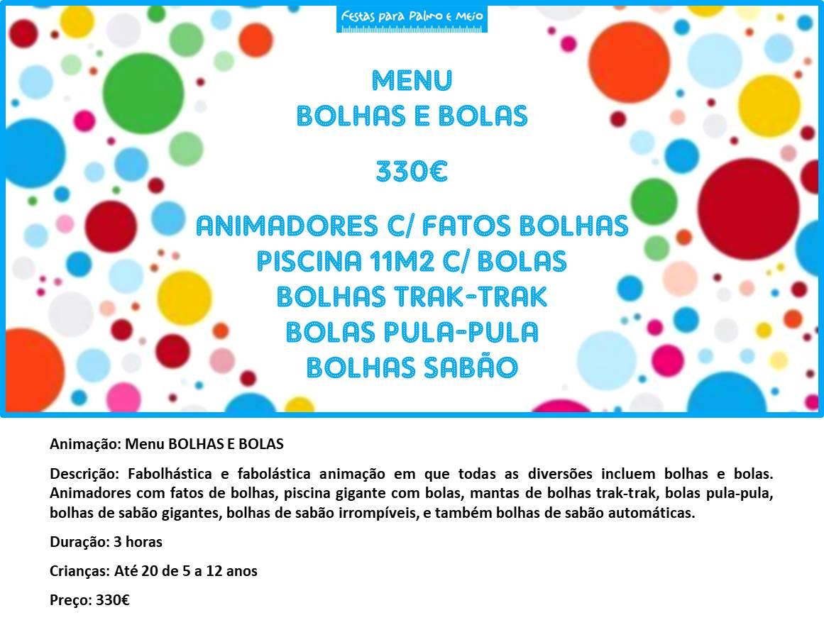 MENU BOLHAS E BOLAS
