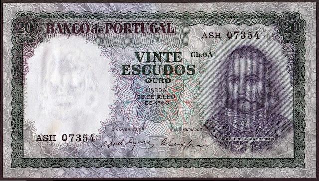 Portugal Banknotes 20 Escudos banknote 1960 Dom Antonio Luiz de Menezes