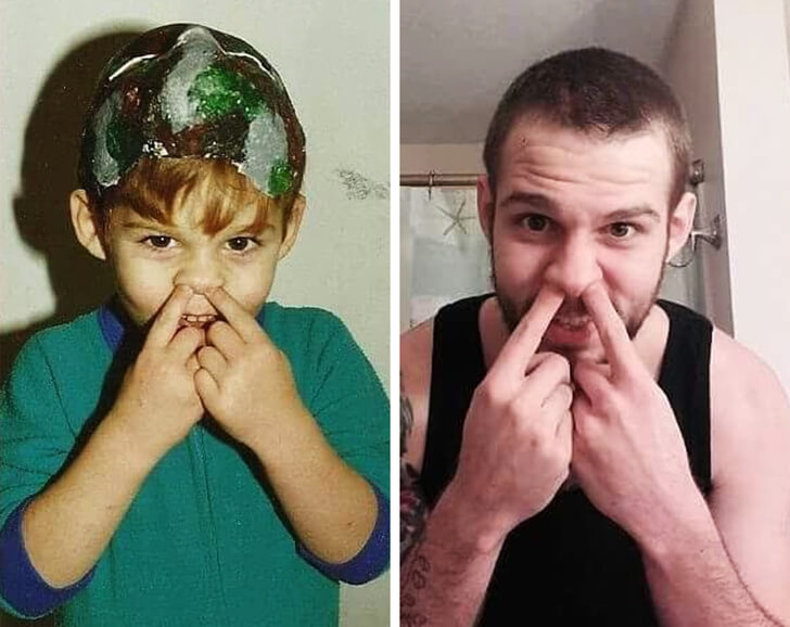 25 Funny Recreations Of Childhood Photos