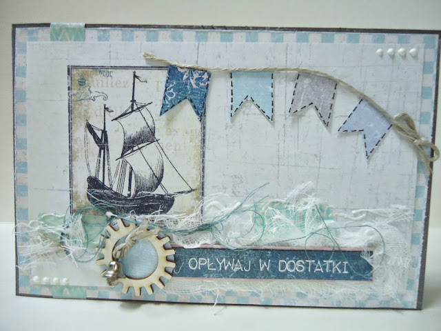 kartka hand made w stylu marynarskim