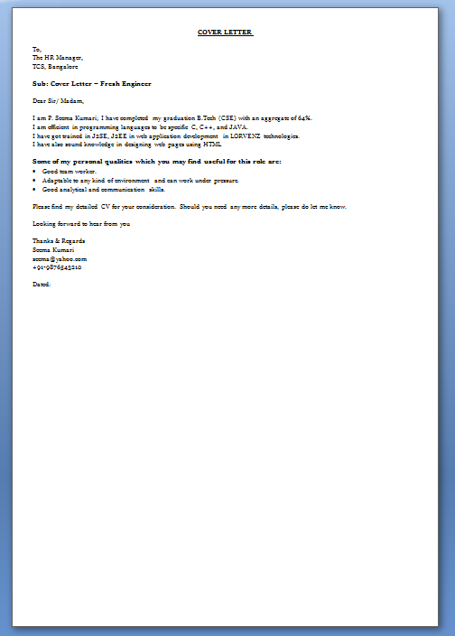 cover letter for hr fresher job - for students parents carol stream public library cover