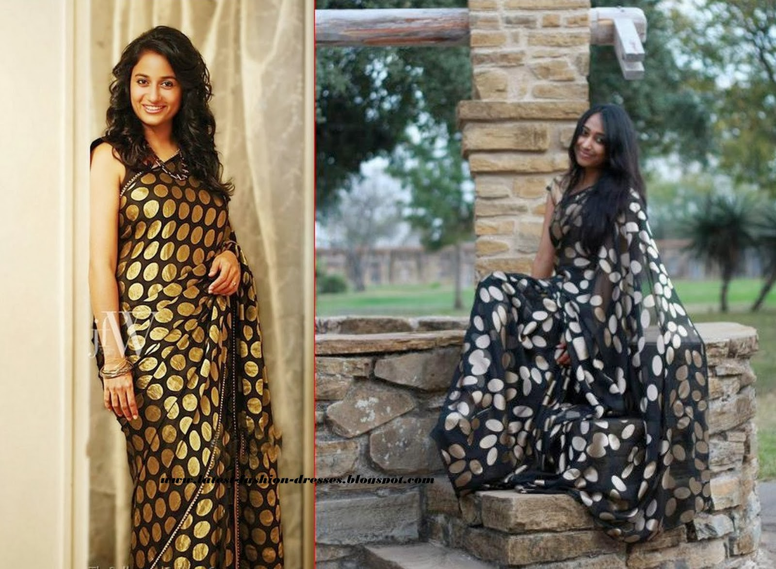 BLACK SAREE WITH PRINTED SAREE