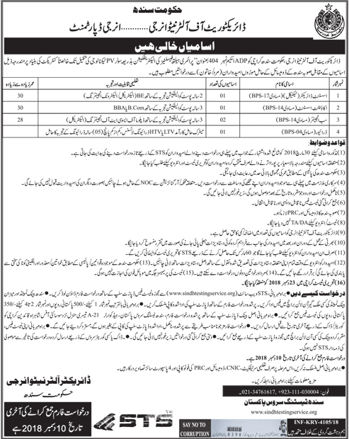 Jobs Vacancies In Energy Department Govt Of Sindh 30 November 2018
