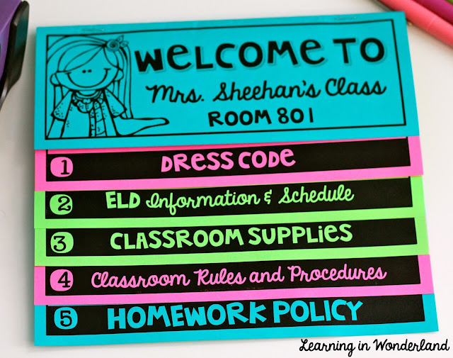 Back to School flip book for Meet the Teacher night!