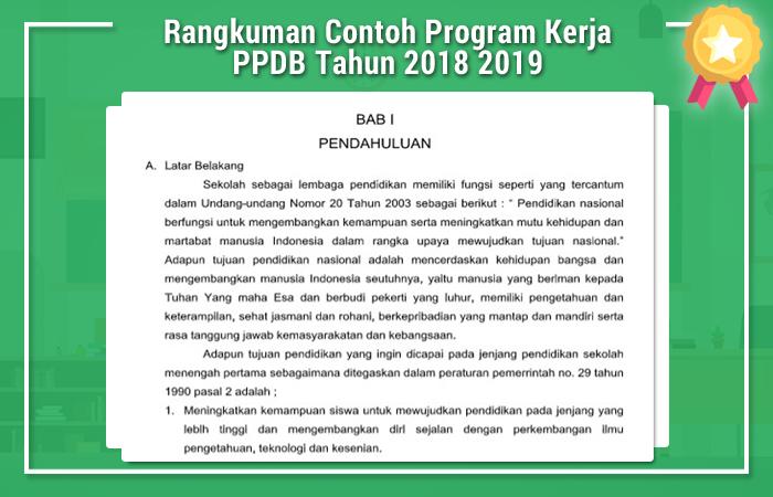 Rangkuman Contoh Program Kerja PPDB Tahun 2018 2019