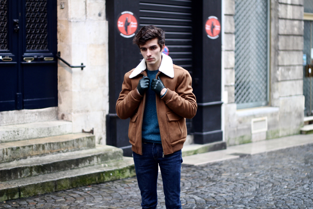 BLOG-MODE-HOMME-manteau-masculin-aviateur-hiver-meilleur-gant-cuir-marks-and-spencer-pull-cachemire-caban-marron-col-mouton-dandy-viril-bordeaux-paris