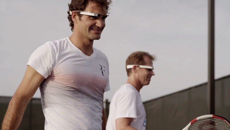 Watch Roger Federer Wears Google Glass while Playing Tennis Match
