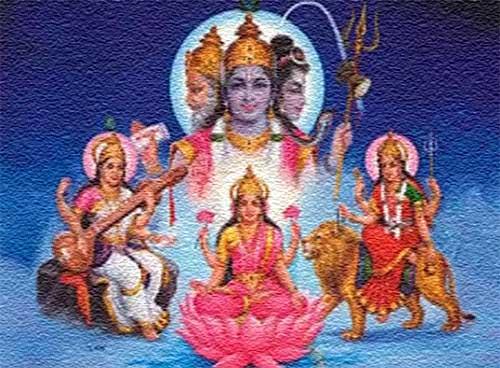Symbolism - Brahma - Vishnu - Shiva or Lakshmi - Saraswati - Durga