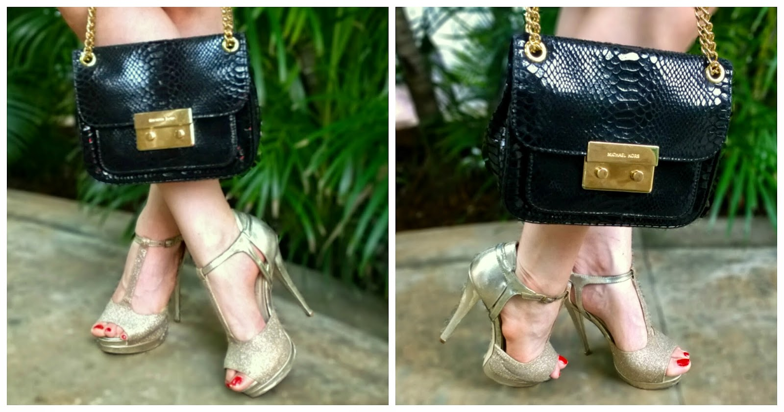 Michael Kors Python Black Shoulder Bag, Gold Steve Madden Heels