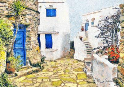 Στη φωτογραφία εικονίζονται τρία σπίτια σε ελληνικό νησί.