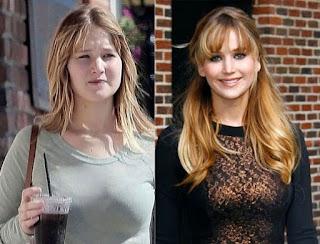 fotos de famosos antes e depois da maquiagem - Jennifer Lawrence