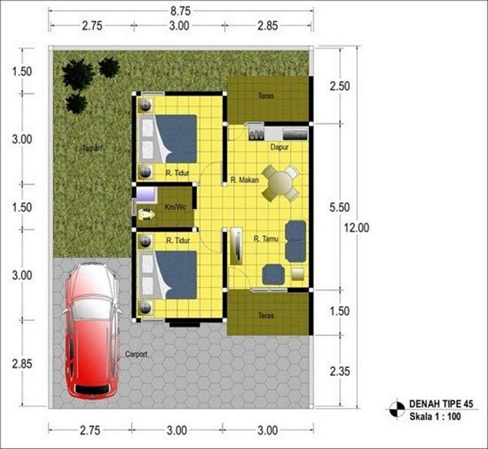denah rumah type 45 minimalis yang kreatif