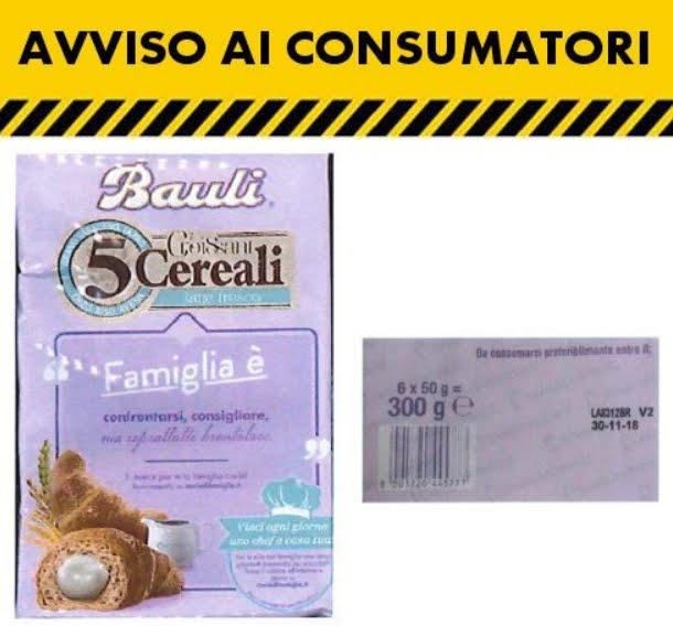 Croissant Bauli 5 cereali latte, Salmonella, Ministero della Salute, Richiamo Alimenti, Revoca Richiamo.