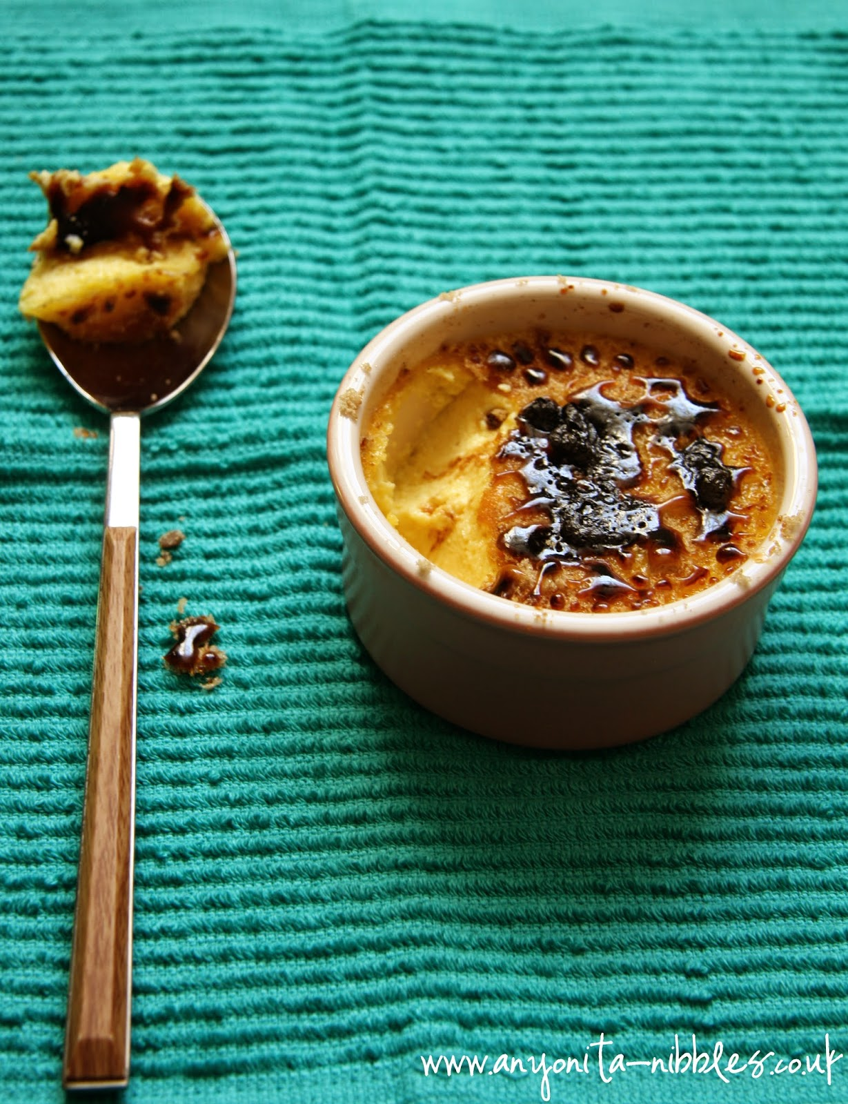 Golden and decadent, spoonful of crème brûlée from Anyonita Nibbles